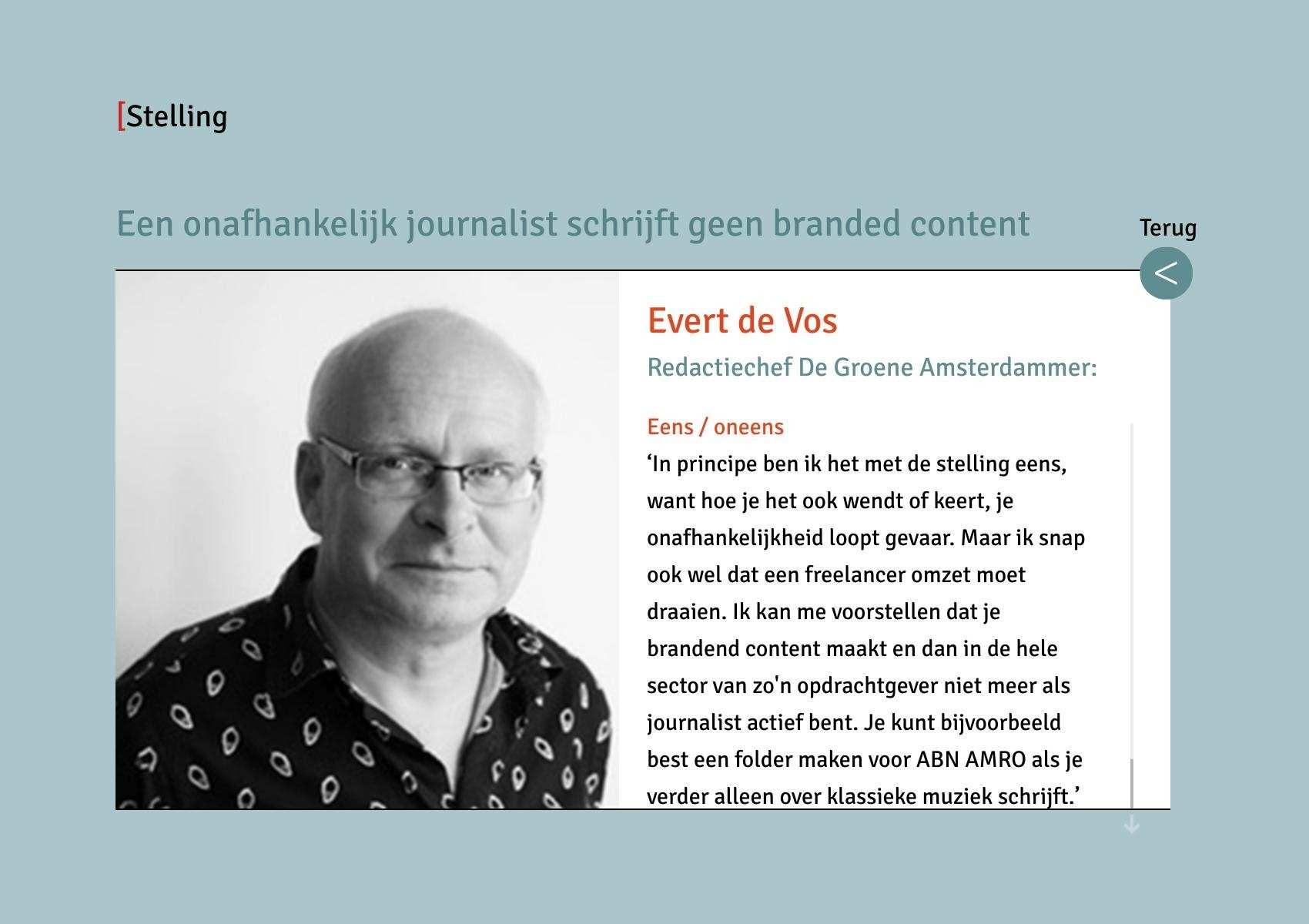 De Redactie Stelling Evert De Vos