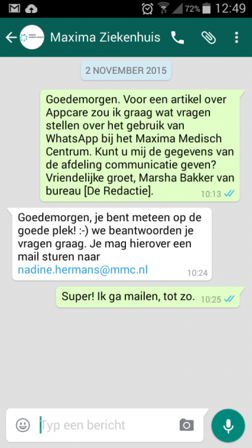 Visie - foto screendump Whatsappje - Maxima Medisch Centrum